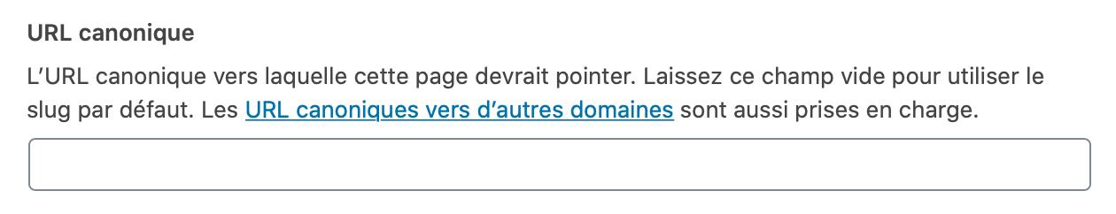 Page canonique wordpress