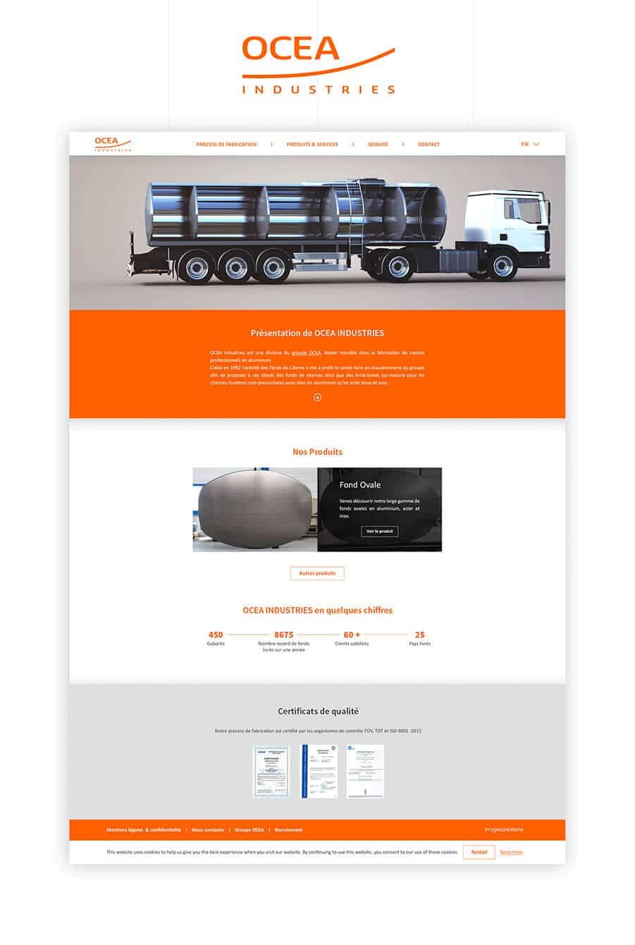 Site web OCEA Industries