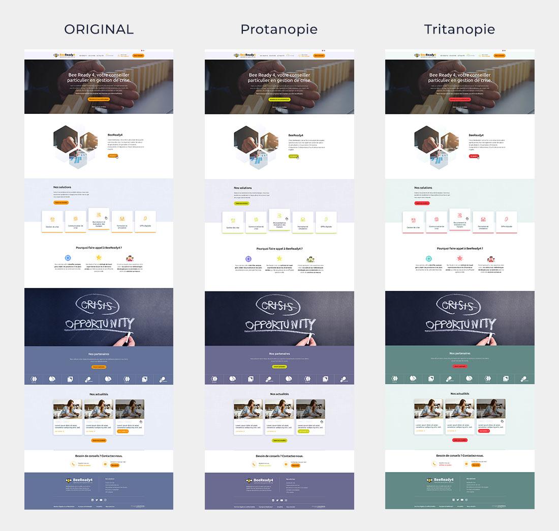 Comparaison Tritanopie et Protanopie